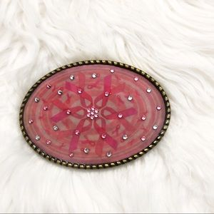 New pink breast cancer ribbon belt buckle crystals